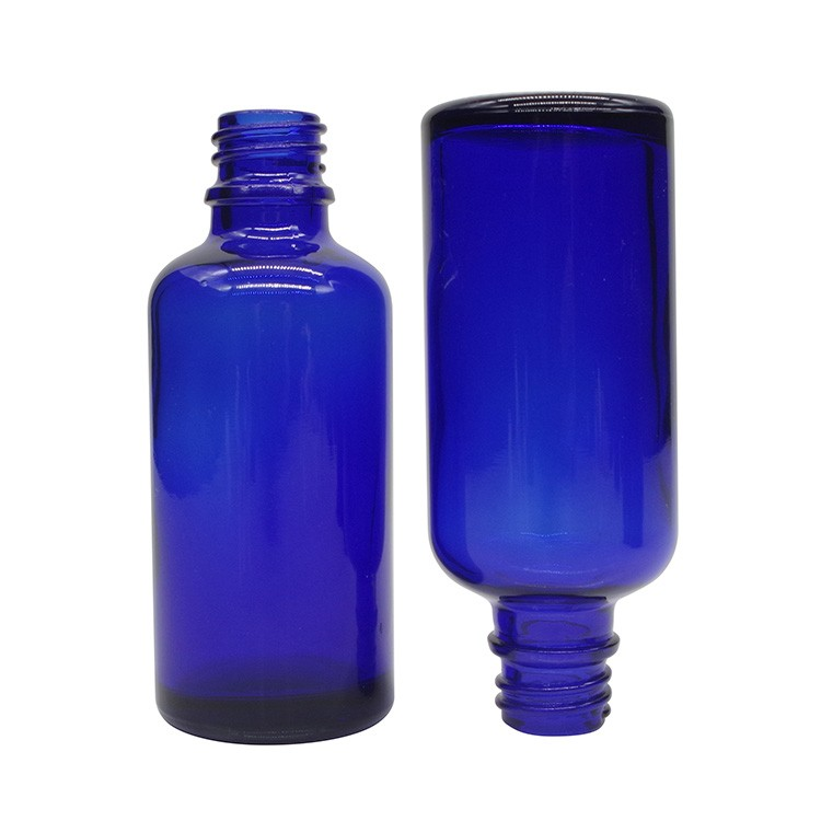 50ml Cobalt Blue Round Glass Dropper Bottles For Essential Oils