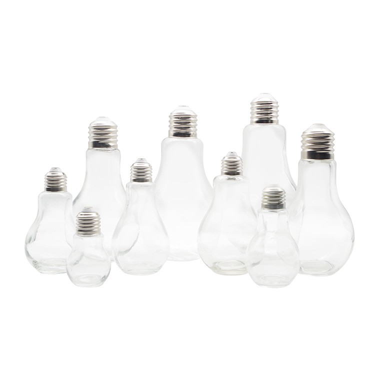 Light Bulb Shaped Drink Juice Glass Bottles